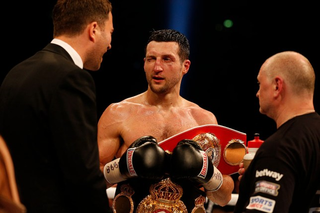 Froch winks at promoter Eddie Hearn after the Carl Froch v George Groves World Super-middleweight fight at Wembley Stadium on May 31st 2014 in London (Photo by Tom Jenkins/Getty Images)