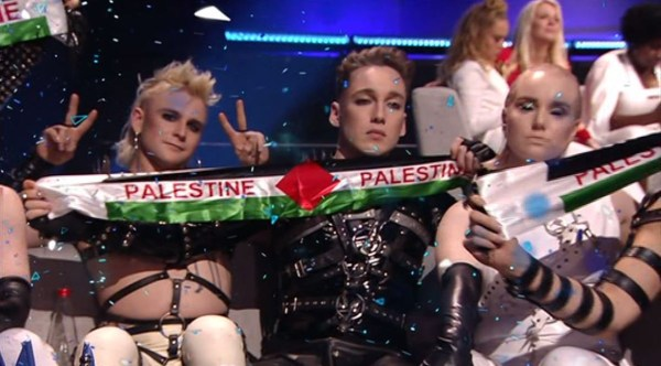 Iceland held up Palestinian banners