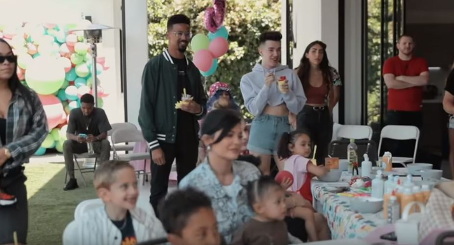 James Charles hangs out with Kylie Jenner and Stormi at YouTube baby's birthday party