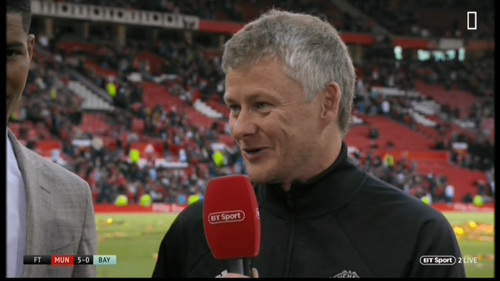 Ole Gunnar Solskjaer aims dig at Manchester United centre-backs after Jaap Stam and Ronny Johnsen impress in Treble Reunion match against Bayern Munich