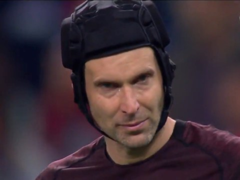 Petr Cech crying after Arsenal's defeat to Chelsea in Europa League final