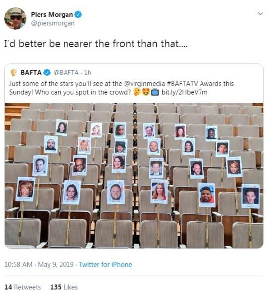 Piers Morgan tweet about BAFTA seating plan