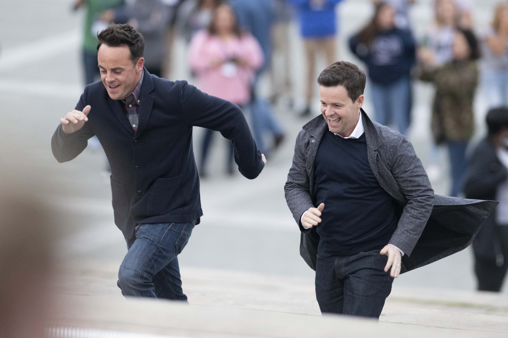 Ant and Dec can't resist running up the Rocky steps in Philadelphia while filming new show