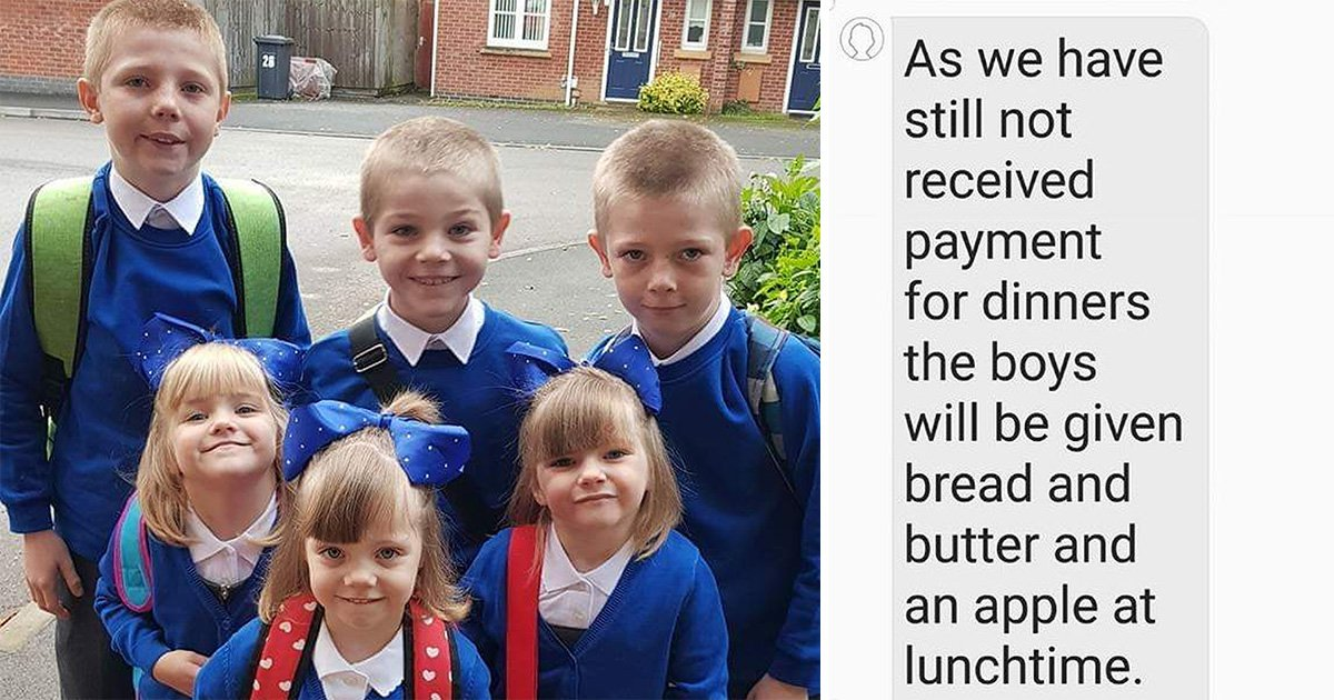 School gives boys bread and butter after mum failed to pay lunch bill on time