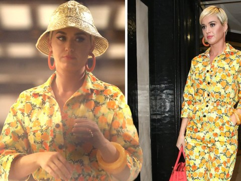 Katy Perry opts for subtlety in shiny gold hat as she goes jewellery shopping