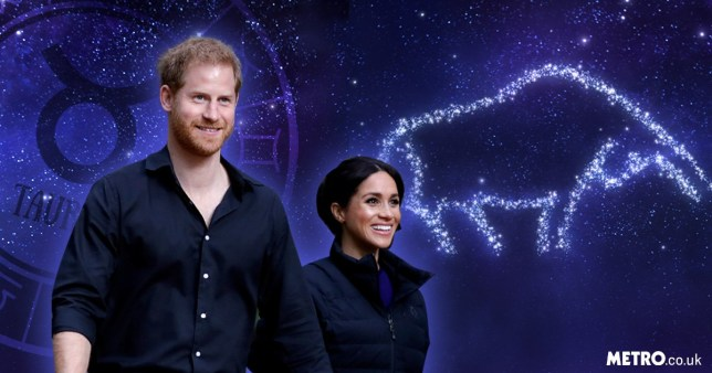 Prince Harry and Meghan Markle with the Taurus star sign symbol