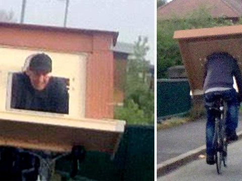 Man cycles home with fireplace over his head