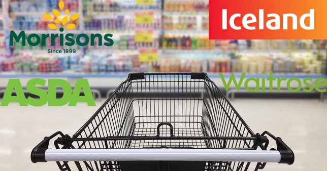 Morrisons, Iceland, Asda and Waitrose logos surrounding a shopping trolley in a shopping aisle