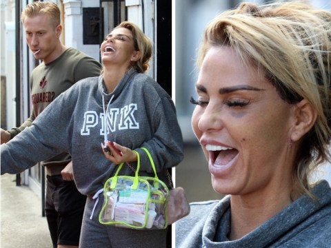 Katie Price laughs off painful-looking bruises as she totes bag full of medication following face lift