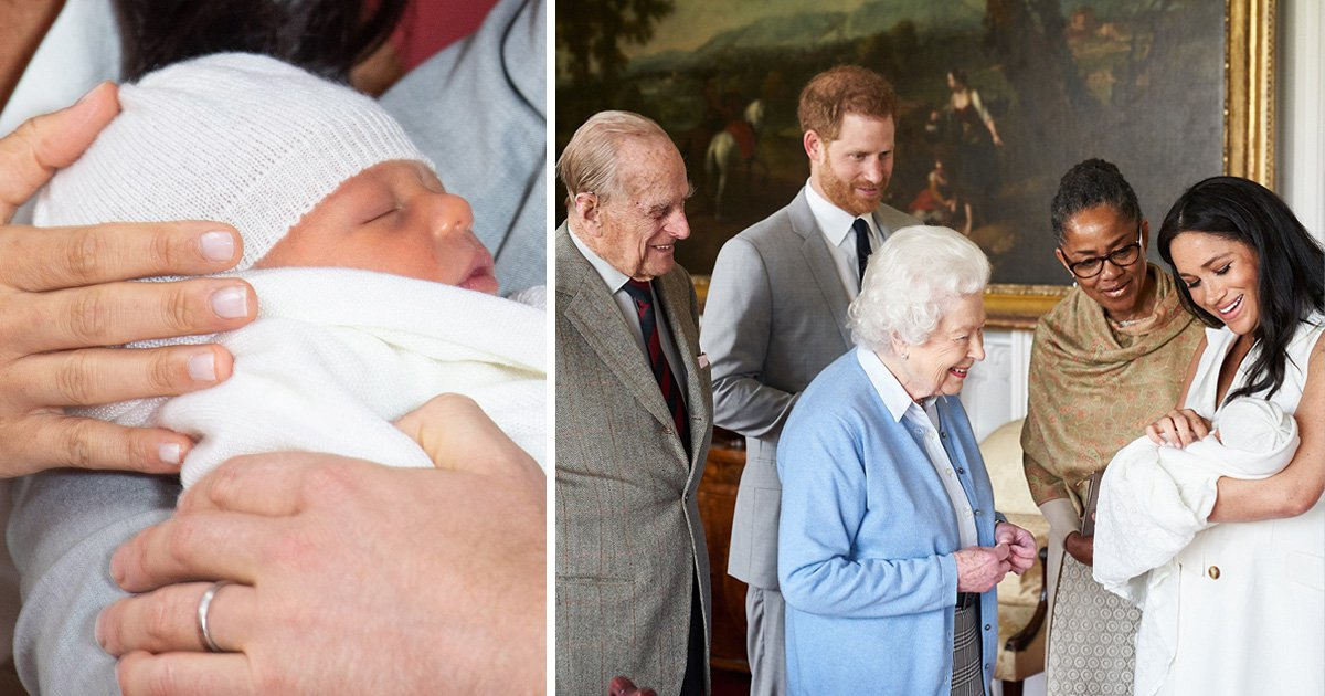 Archie Harrison with his grandparents the Queen, Prince Philip, Doria and parents Meghan and Harry