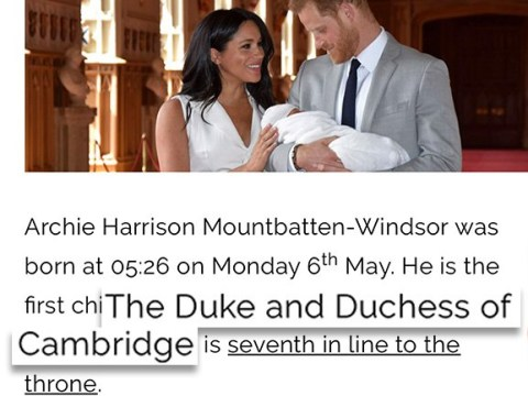 Royal website awkwardly introduces Archie as Kate and William's first child