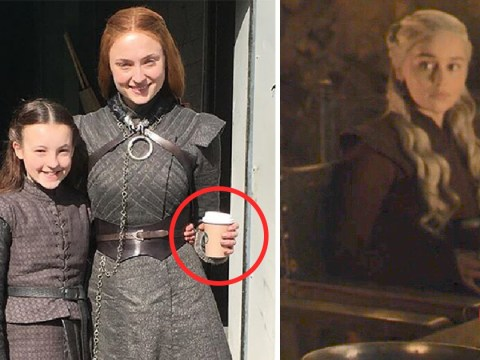 Sophie Turner's Sansa Stark is being blamed for that epic Game Of Thrones coffee cup blunder