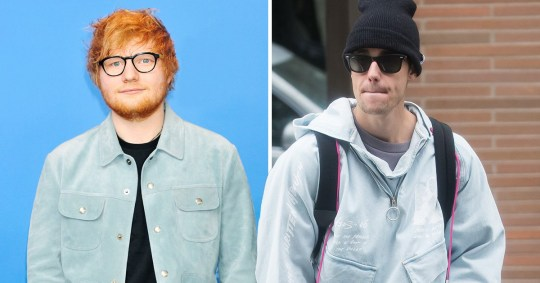 Musicians Justin Bieber and Ed Sheeran