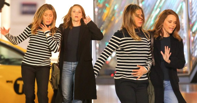 "Jennifer Aniston and Reese Witherspoon seen filming ""The Morning Show\"" in New York City (Picture: Splash)"