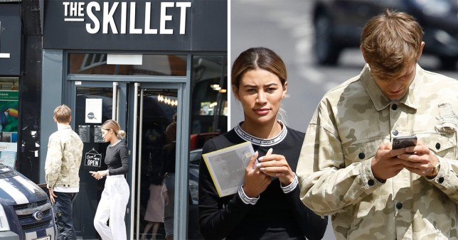 Love Island's Montana Brown and Elliot Reeder seen lunching at Mike Thalassitis' restaurant The Skillet essex