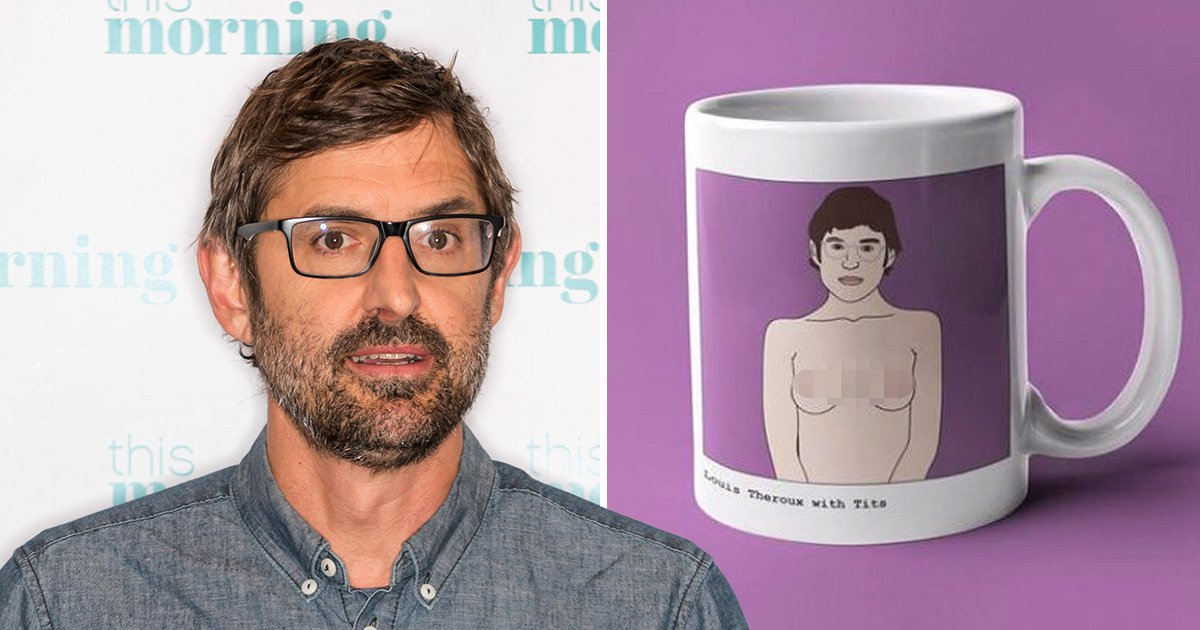 Louis Theroux with the coffee mug selling on Etsy featuring his body with boobs