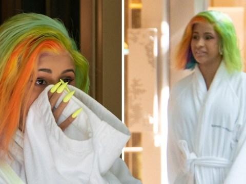 Cardi B takes lounge wear to new heights as she rocks fluffy hotel bathrobe on shopping trip
