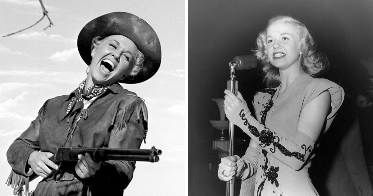 Doris Day playing Calamity Jane on the left and on stage with a microphone on the right