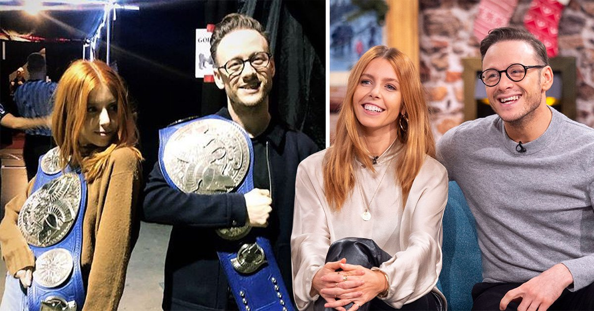 Strictly Come Dancing stars and couple Stacey Dooley and Kevin Clifton backstage at WWE Raw in London