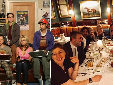 Kaley Cuoco and The Big Bang Theory cast enjoy one last 'family dinner' before tomorrow's series finale