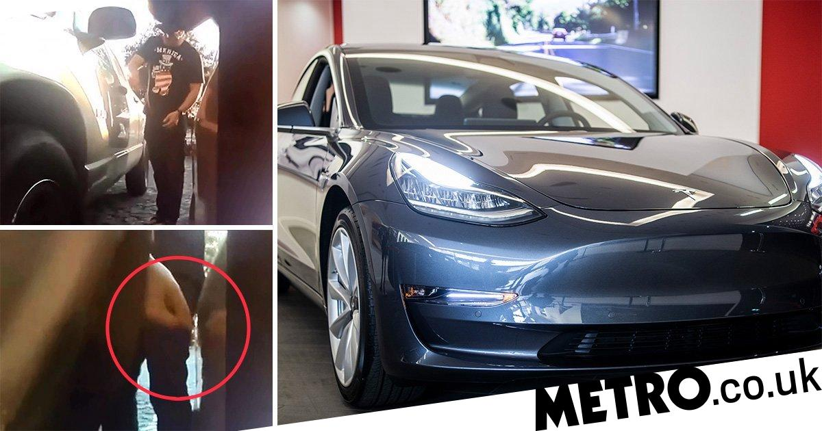 Tesla 'Sentry Mode' captures two men keying the £41,000 car