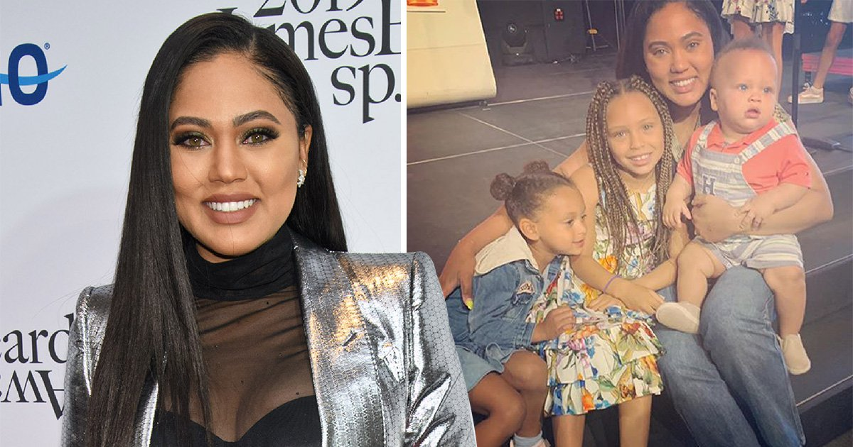 Ayesha Curry at the 2019 James Beard Awards at Lyric Opera Of Chicago and with her three children Ryan, Riley and Canon