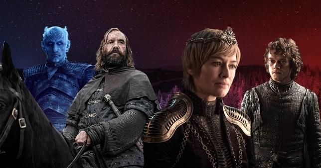Vladimir Furdik as the Night King, Rory McCann as Sandor Clegane, Lena Headey as Cersei Lannister and Alfie Allen as Theon Greyjoy in Game of Thrones