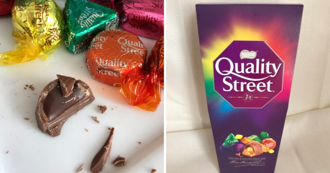 Split image of Quality Street box on one side, and Quality Street sweets on the other with a yellow, green and orange one, as well as one that has been unwrapped and cut into