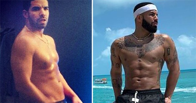 Drake showing of his abs over the years.