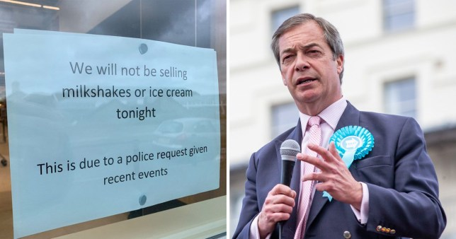 Police ask McDonald's to stop selling milkshakes for Farage demo