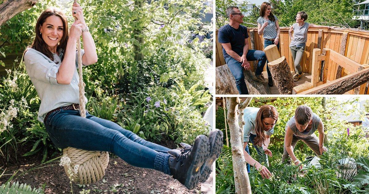 Kate Middleton swings into garden she designed for Chelsea Flower Show