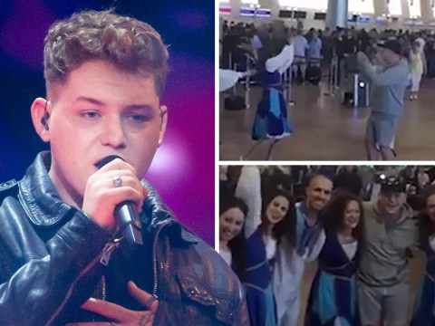 Michael Rice brushes off Eurovision defeat for singalong with fans at Tel Aviv airport