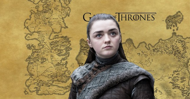 Arya Stark in front of a map of Westeros and Essos in Game of Thrones