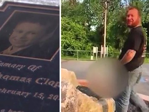 'Scumbag' laughs as he pees on memorial for boy, 9, who died of cancer