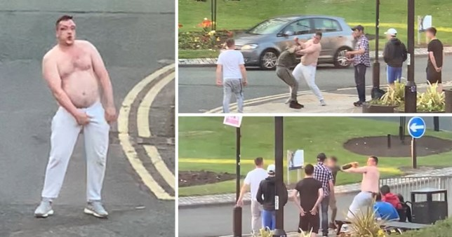 The bare-chested yob brought traffic to a standstill as he brawled with a mob of teenagers
