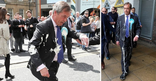 Nigel Farage was hit with milkshake while campaigning for the Brexit Party in Newcastle