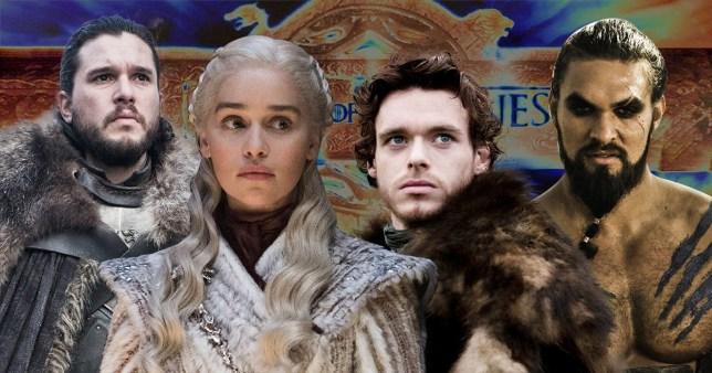 Daenerys Targaryen, Jon Snow, Robb Stark, and Khal Drogo from Game of Thrones