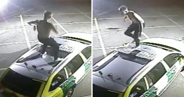 Police want to speak to this topless man pictured on CCTV jumping on a rapid response ambulance in Leeds, West Yorkshire around 11.30pm on Tuesday, May 14