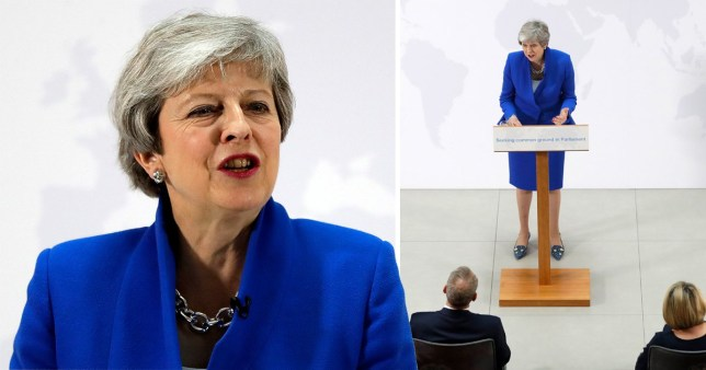 Theresa May speaking in central London this afternoon