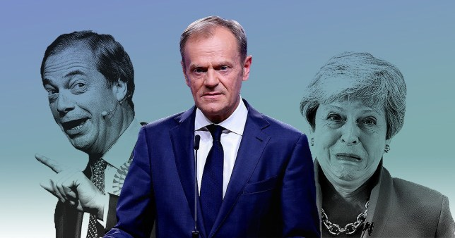 Nigel Farage will stand in the European Elections for his Brexit Party, Theresa May is pictured behind Donald Tusk