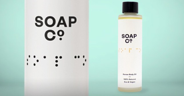 The label on the Soap Co bottle, which features the name of the company in Braille text