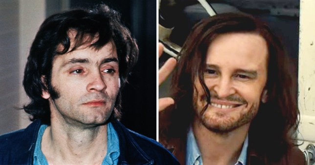 the real charles manson and of Damon Herriman playing Charles Manson