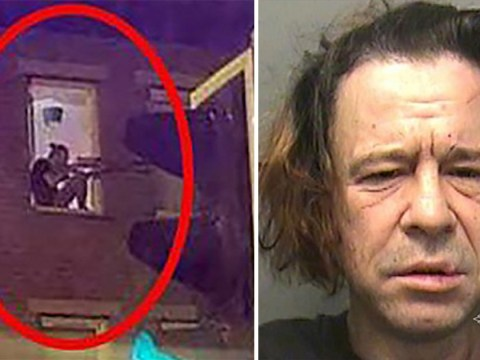 Man pictured taking pot-shots out of flat window with air rifle