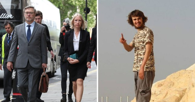 Parents Sally Lane, 56, and John Letts, 58, from Oxford outside court next to a picture of Jack Letts, the Muslim convert dubbed 'Jihadi Jack' after joining Isis.