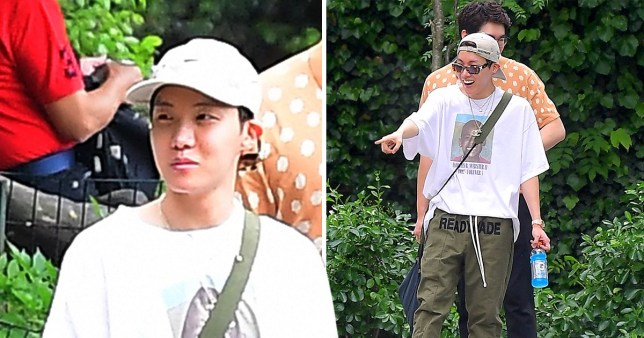 "EXCLUSIVE: K Pop Star J-Hope from BTS was Spotted at NYC's Central Park Zoo on Tuesday. The Singer who has become part of a Beatles-esque Phenomenon, went incognito for his time in NYC. He had a small film crew plus security, but was unrecognized by fans who often camp out days to see the band in person. He wore a Travis Scott Shirt and ""Ready Made"" by Adidas clothes for the stylish outing . Pictured: J-Hope,BTS Ref: SPL5092256 210519 EXCLUSIVE Picture by: Splash News / SplashNews.com Splash News and Pictures Los Angeles: 310-821-2666 New York: 212-619-2666 London: 0207 644 7656 Milan: 02 4399 8577 photodesk@splashnews.com World Rights, No Portugal Rights"