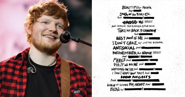 Ed Sheeran redacted album cover
