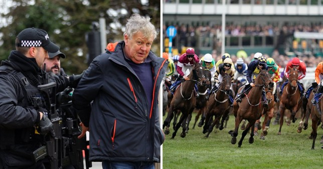 Harry Hicks being taken away by police next to a shot of Cheltenham Festival where Hicks brandished a knife during an argument at Ladies Day.