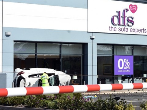 Two men in critical condition after crashing into DFS store during police chase