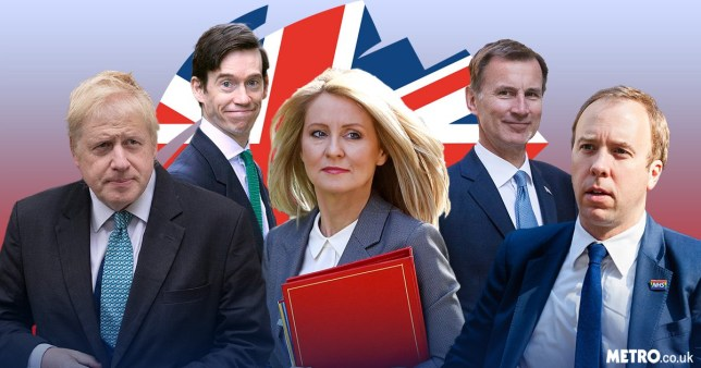 Boris Johnson, Rory Stewart, Esther McVey, Jeremy Hunt and Matt Hancock - the first five Tory MPs to confirm their leadership bids after Theresa May's resignation speech.