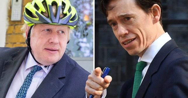 Boris Johnson wearing a bike helmet (left) next to International Development Secretary Rory Stewart (right) comp